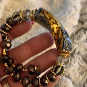 Leopard like glass bracelet.